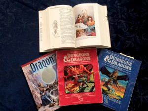 Dragonlance Chronicles (top), Dragon magazine #200 (left), and 2 of my D&D rulebooks