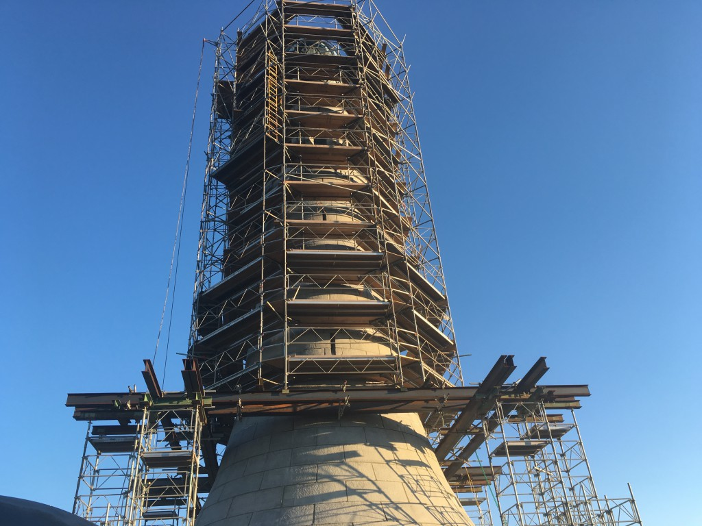 The Memorial Tower, currently undergoing renovations.