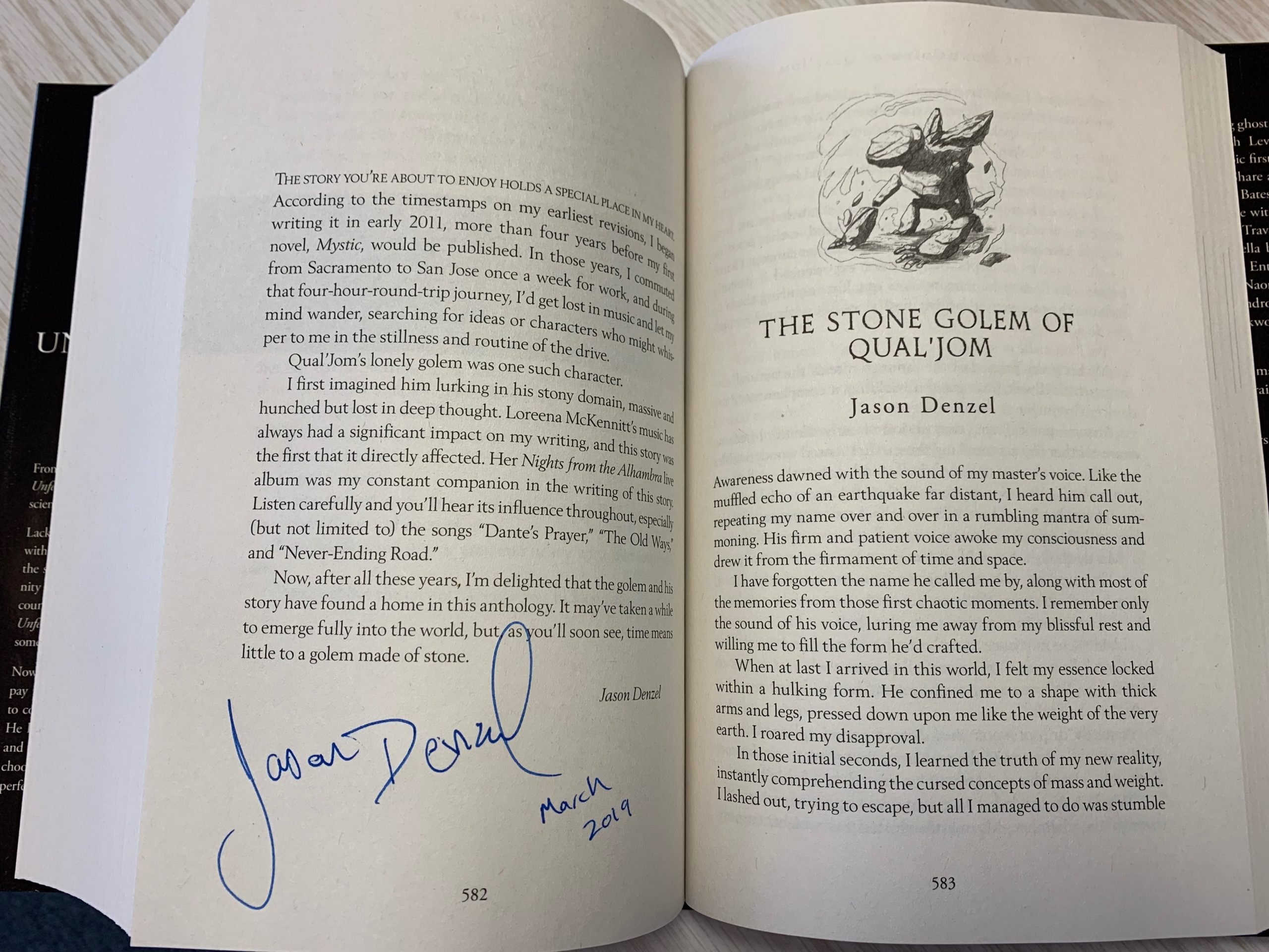 Opening page of the Stone Golem of Qual'Jom